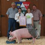 Reserve Champion Swine - Morgan Morell; Buyer - Lindsey Construction and James & Delane Morell