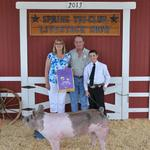 Grand Champion Swine - Clayton Lockwood; Buyer - Greg and Brenda Keys